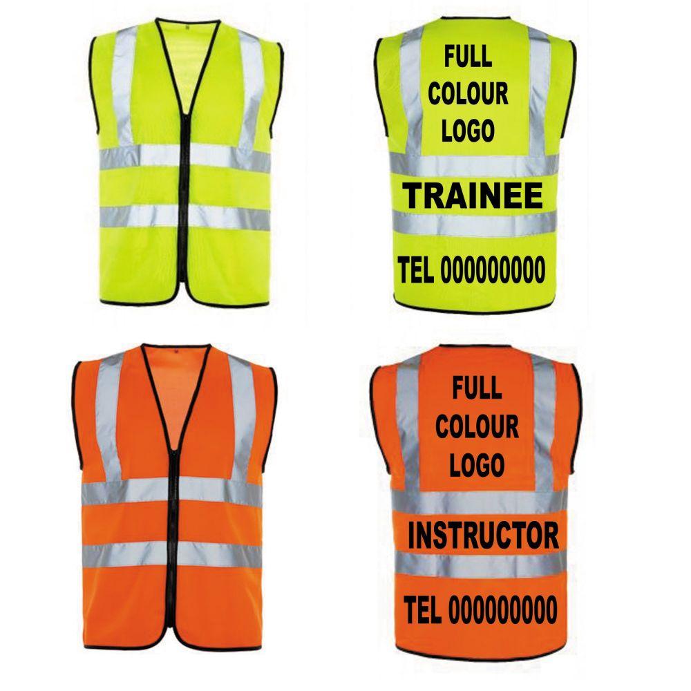 Personalise hi viz hi vis saftey vest zipped yellow orange motorcycle train