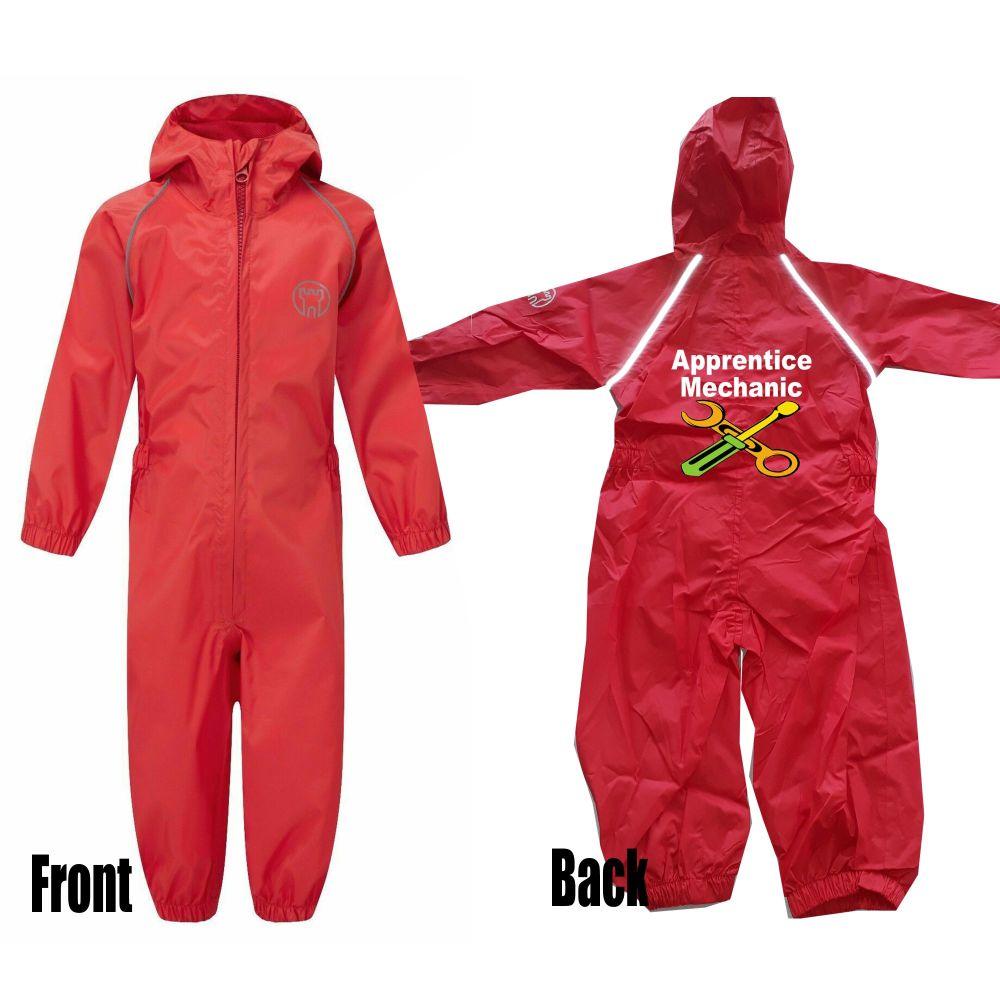 Kids children red all in one rainsuit windproof waterproof apprentice mecha