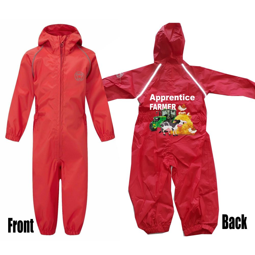 Kids children red all in one rainsuit windproof waterproof apprentice farme