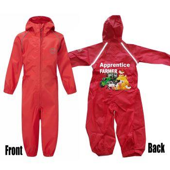 Kids children red all in one rainsuit windproof waterproof apprentice farmer