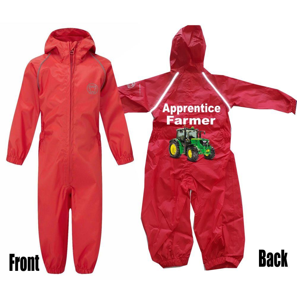 Kids children red all in one rainsuit windproof waterproof apprentice farme