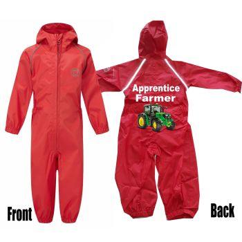 Kids children red all in one rainsuit windproof waterproof apprentice farmer tractor