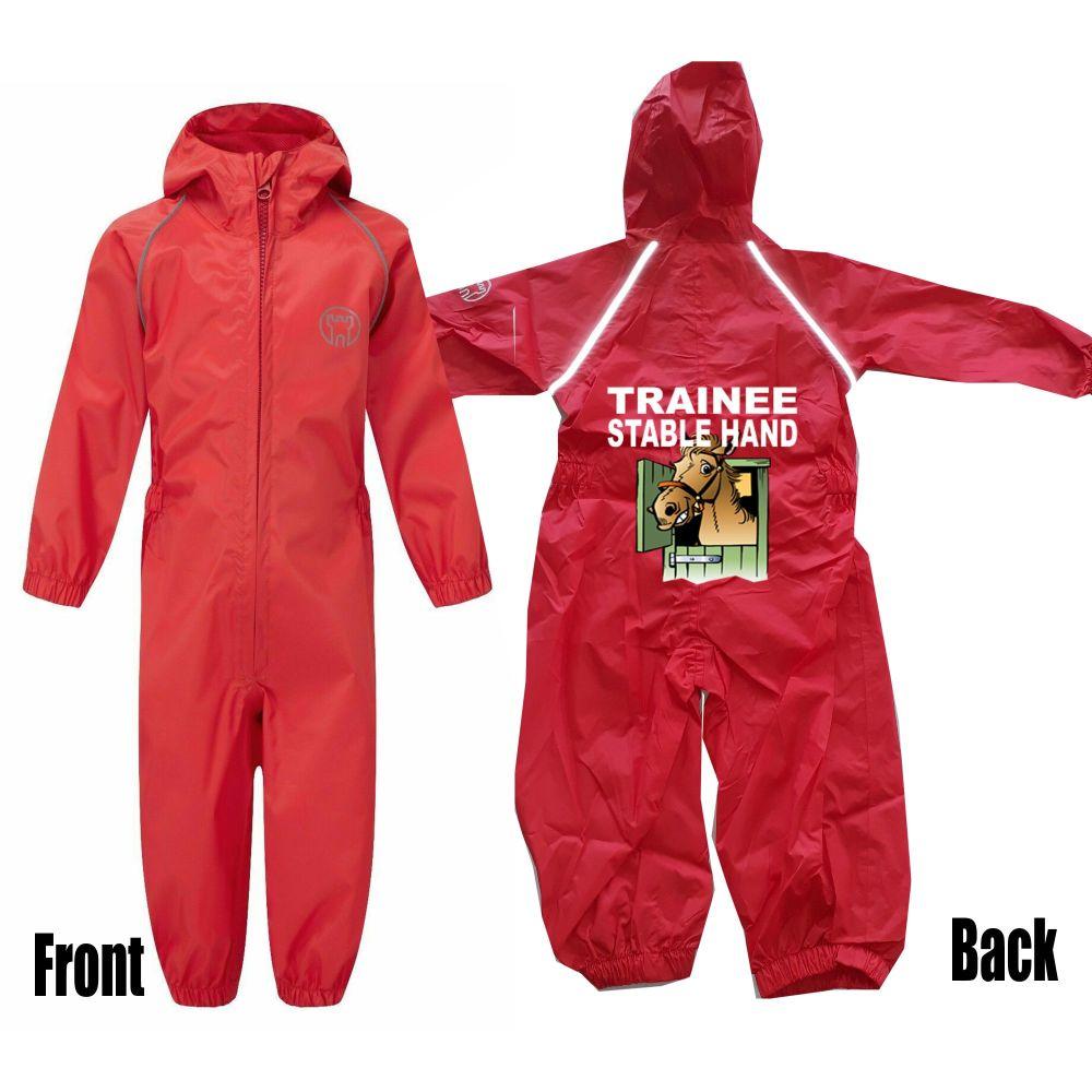 Kids children all in one rainsuit windproof waterproof trainee stable hand