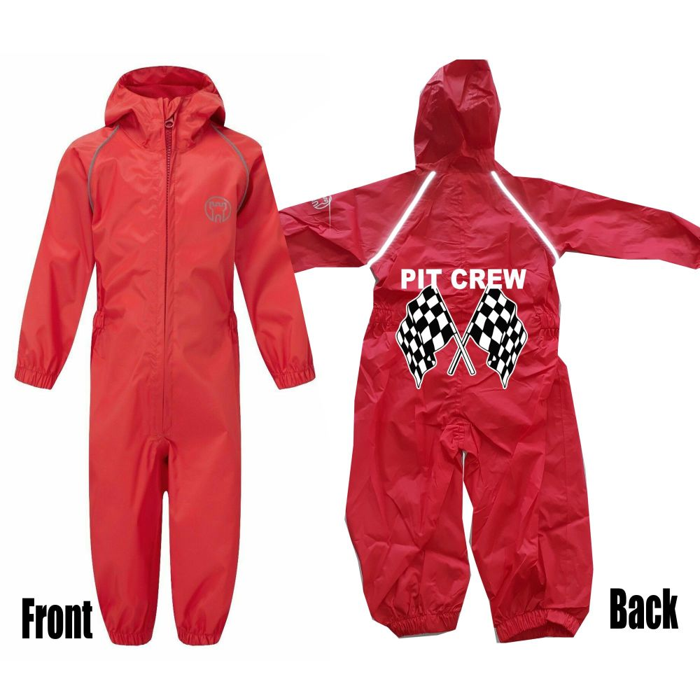 Kids children all in one rainsuit windproof waterproof pit crew customise