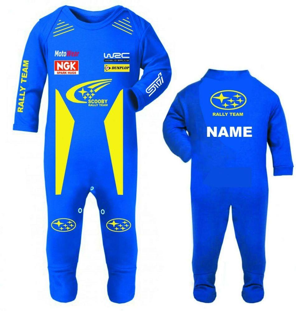 3 - Scooby car rally team baby grow babygrow romper suit blue race suit 100