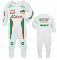 33-Car racing Castoroil car rally team baby grow babygrow romper suit customise