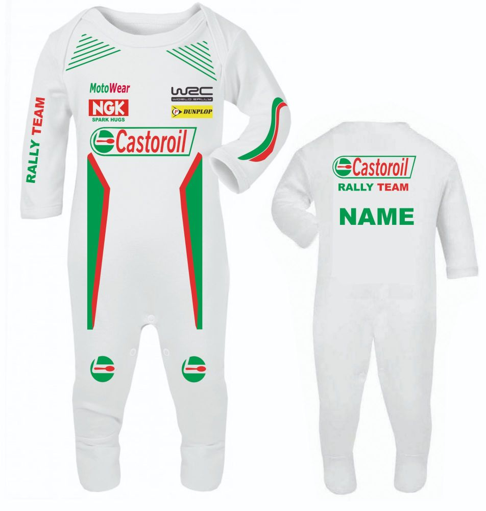 Car racing Castoroil car rally team baby grow babygrow romper suit customis
