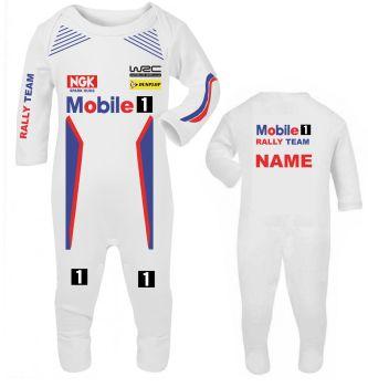 Car racing Mobile 1 car rally team baby grow babygrow romper suit customise