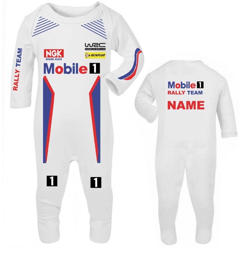 Car racing Mobile 1 car rally team baby grow babygrow romper suit customise
