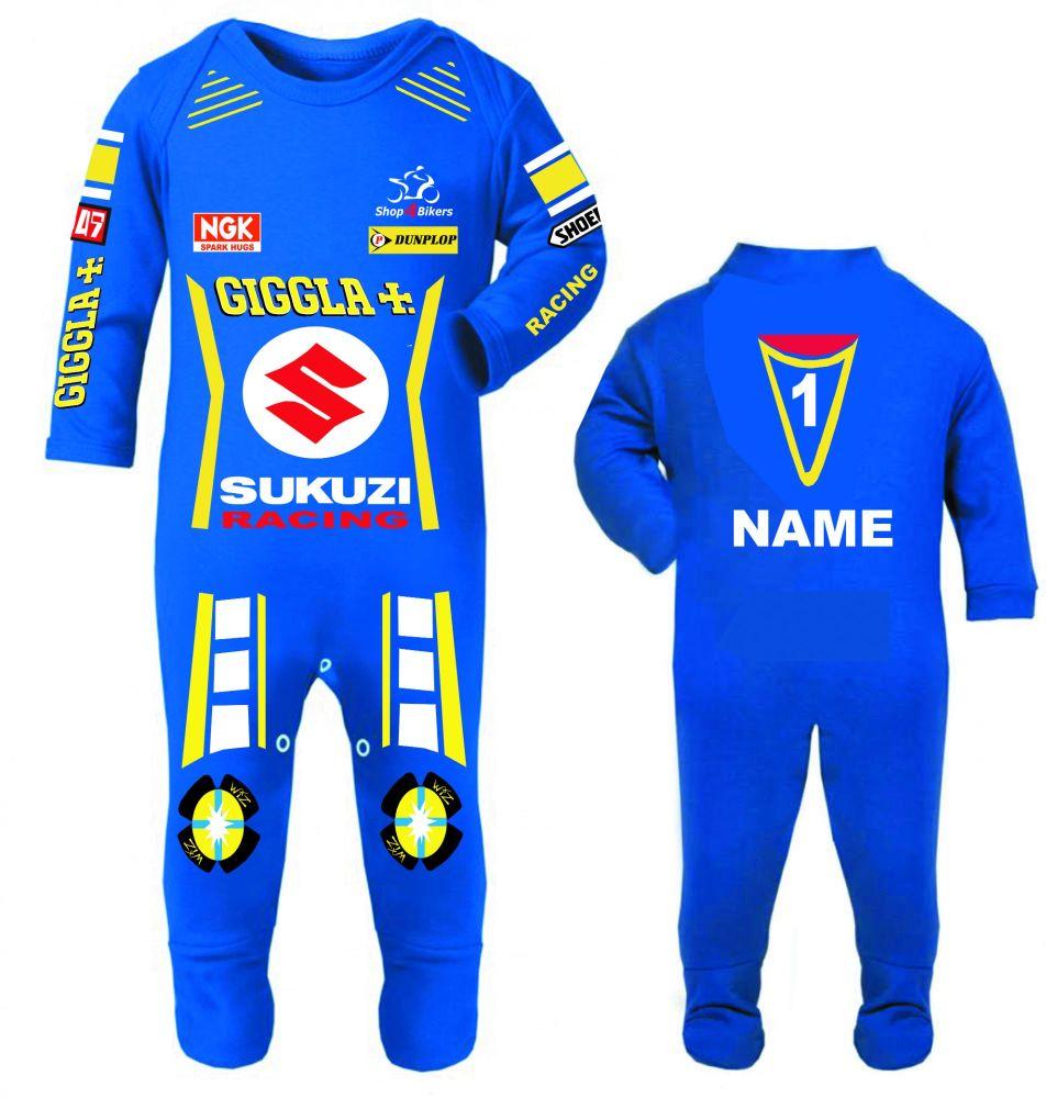 3-Motorcycle Baby grow babygrow Giggla Sukuzi blue Baby Race romper suit ma