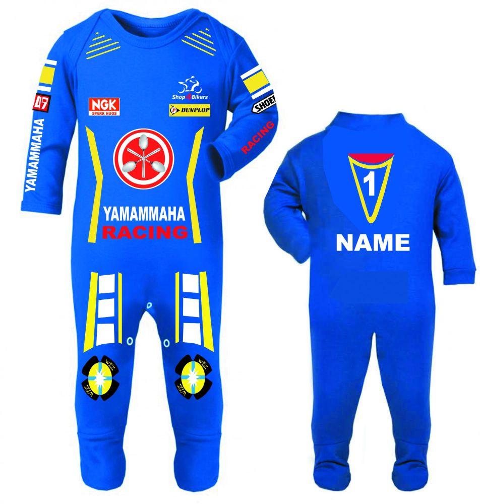 3-Motorcycle Baby grow babygrow Yamammaha Race blue romper suit Wiz sliders