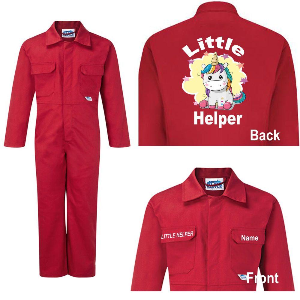 Kids children boiler suit overalls coveralls customise unicorn little helpe