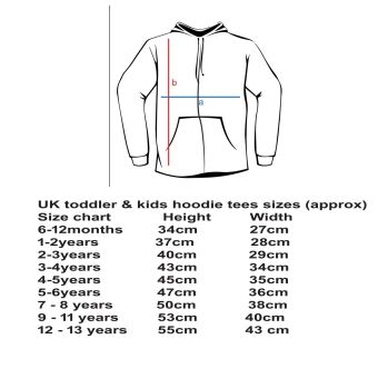 kids & baby size chart hoodie copy
