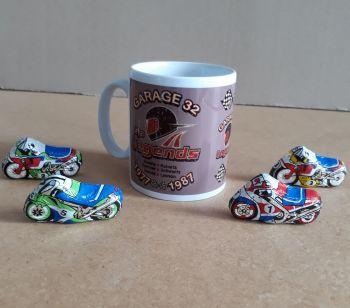 Motorcycle racing GP Legends mug chocolates 4 milk chocs Easter gift