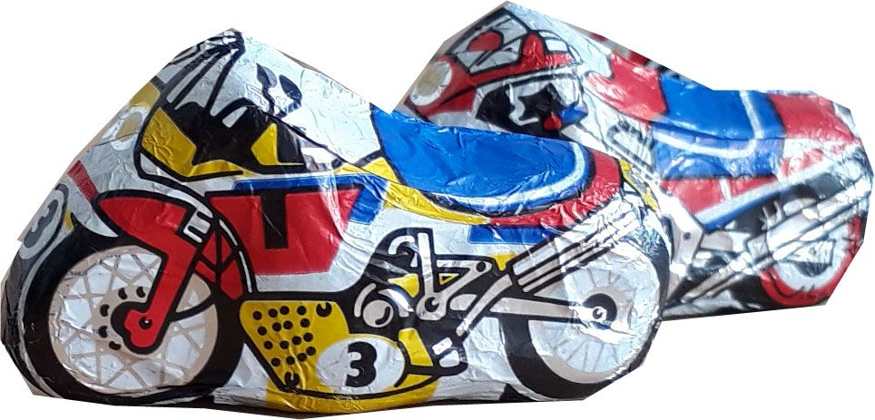 Motorcycle bike racing chocolates 5 milk chocs gluten free Easter gift