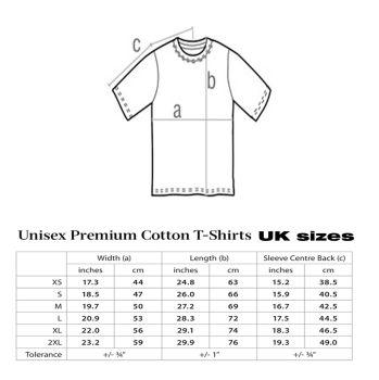 size chart for retro tshirt copy