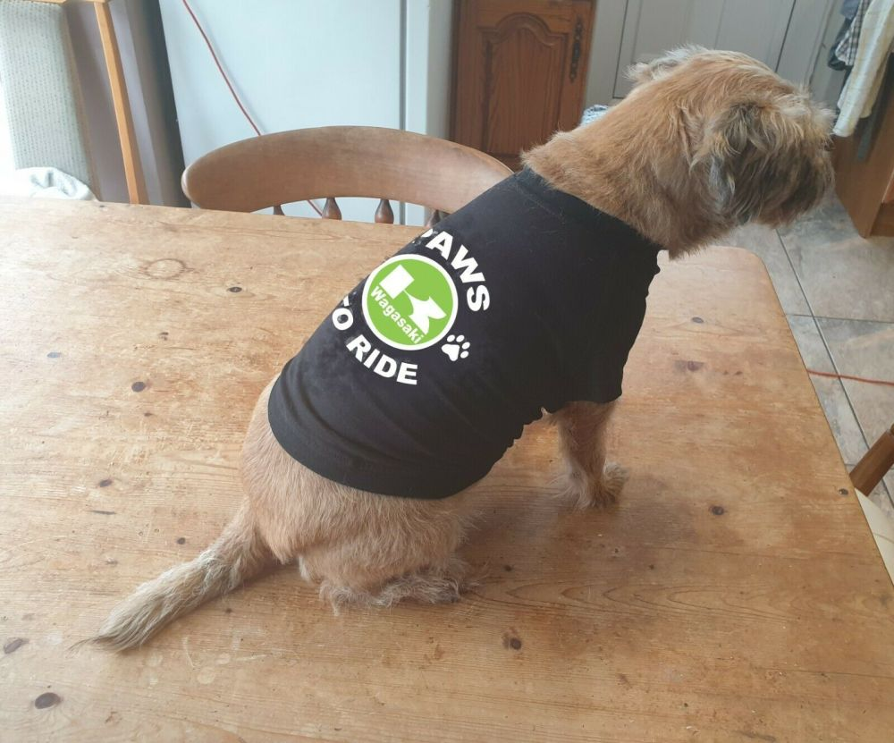 Dog pet t-shirt tee Paws to ride Yamaha biker motorcycle black cotton delux