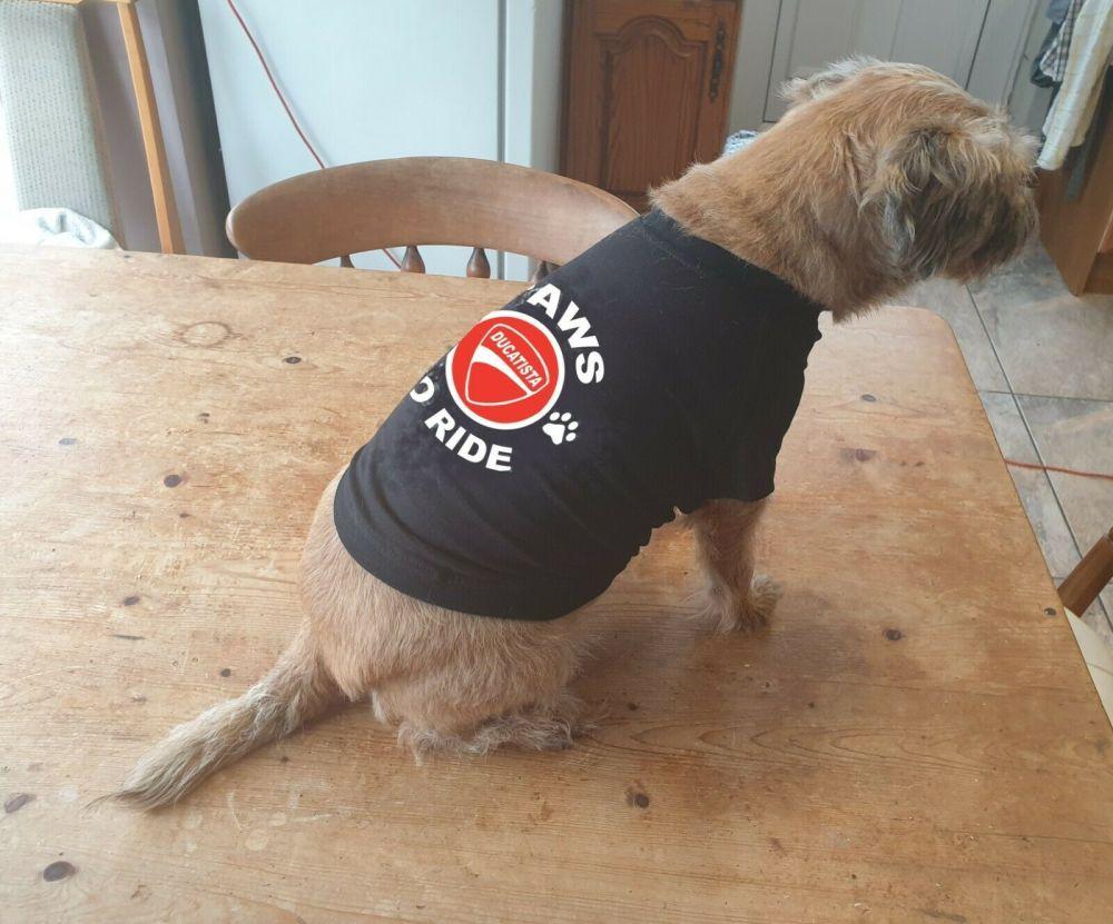 Dog pet t-shirt tee Paws to ride Ducatista biker motorcycle black cotton de