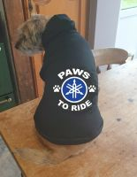 Dog pet hoodie Paws to ride Yamaha biker motorcycle cotton pullover qaulity