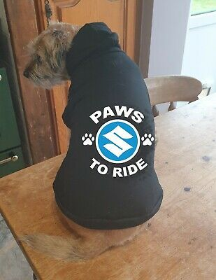 Dog pet hoodie Paws to ride Suzuki biker motorcycle cotton pullover qaulity