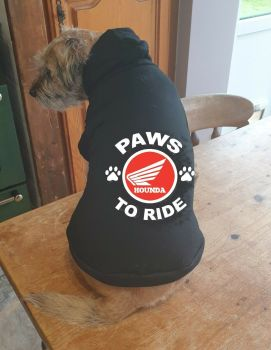 Dog pet hoodie Paws to ride Hounda biker motorcycle cotton pullover qaulity