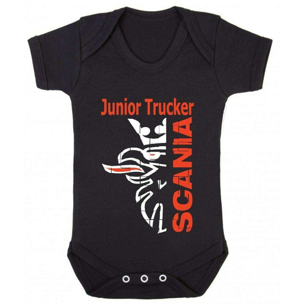 Z - Junior baby trucker black romper suit kids boy girl Lorry HGV truck Sca