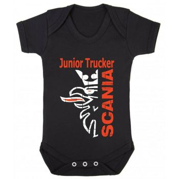 Z - Junior baby trucker black romper suit kids boy girl Lorry HGV truck Scania