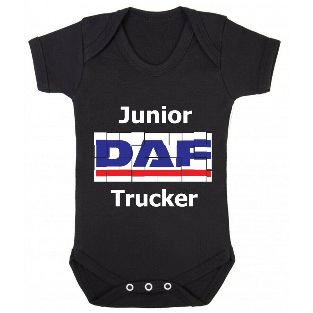 Z - Junior baby trucker black romper suit kids boy girl Lorry HGV truck DAF
