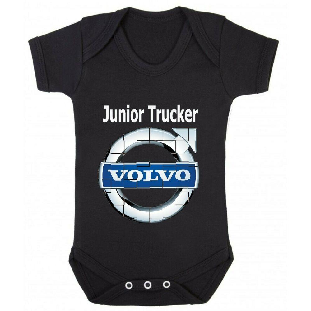 Z - Junior baby trucker black romper suit kids boy girl Lorry HGV truck Vol