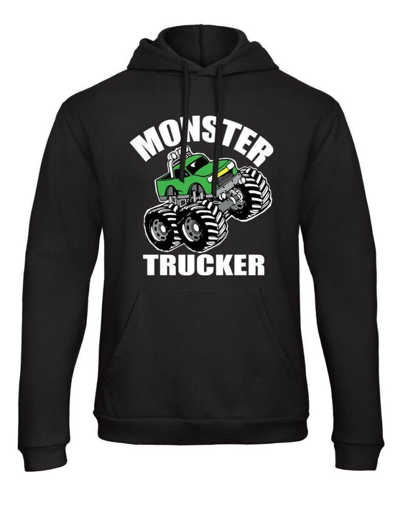 Z -Monster trucker truck green kids children black hoodie pullover sweatshi