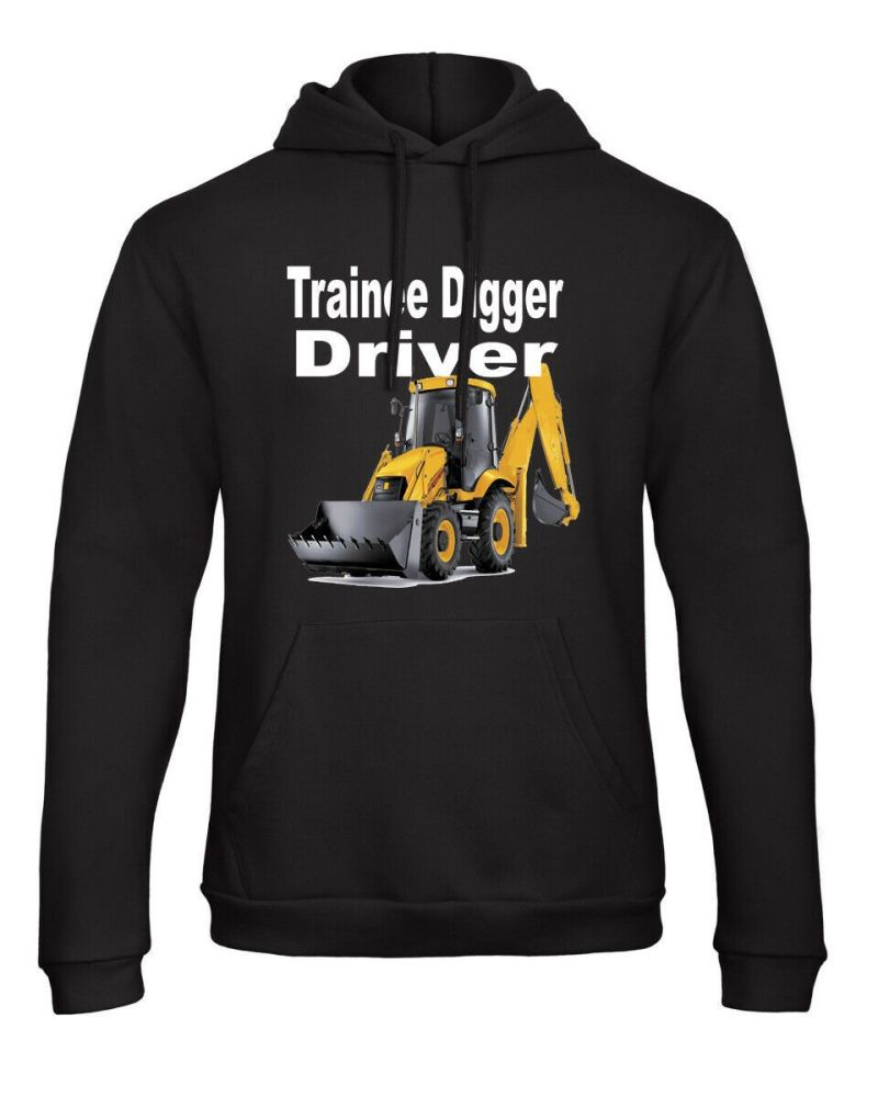 Z -Trainee digger driver yellow digger kids children black hoodie pullover