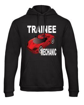 Z -Trainee car mechanic kids children black hoodie pullover sweater