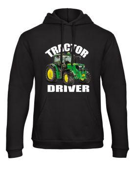 Z -Tractor driver kids children black hoodie pullover green tractor farmer