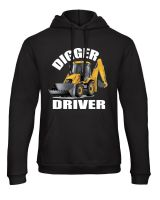 Z -Digger driver kids children black hoodie pullover yellow digger