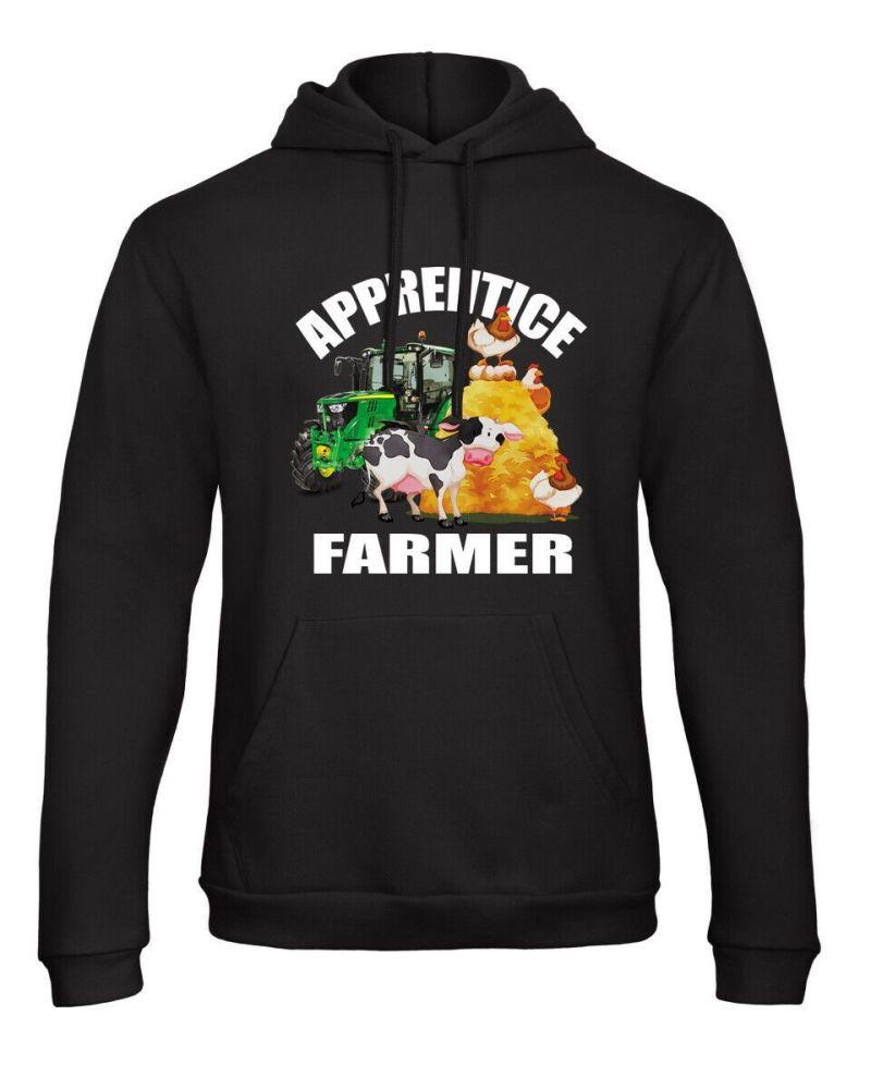 Z -Apprentice trainee tractor farmer animals kids children black hoodie pul