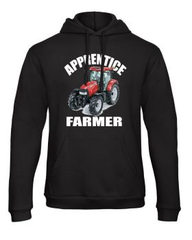 Z -Apprentice trainee farmer red tractor black kids children hoodie pullover