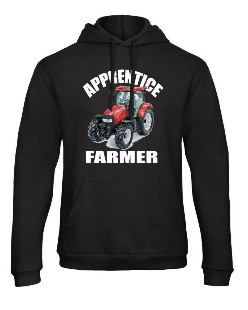 Z -Apprentice trainee farmer red tractor black kids children hoodie pullove