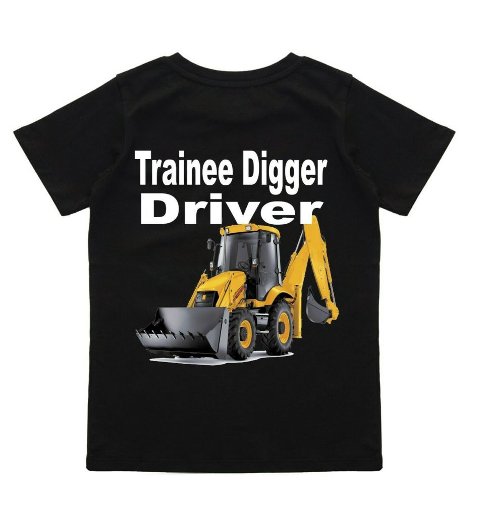 z - Trainee digger driver yellow digger black t-shirt kids children 100% co