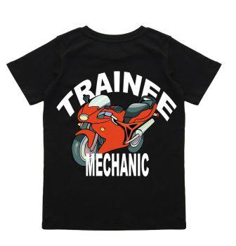 z - Trainee apprentice motorcycle bike mechanic black t-shirt kids children cotton