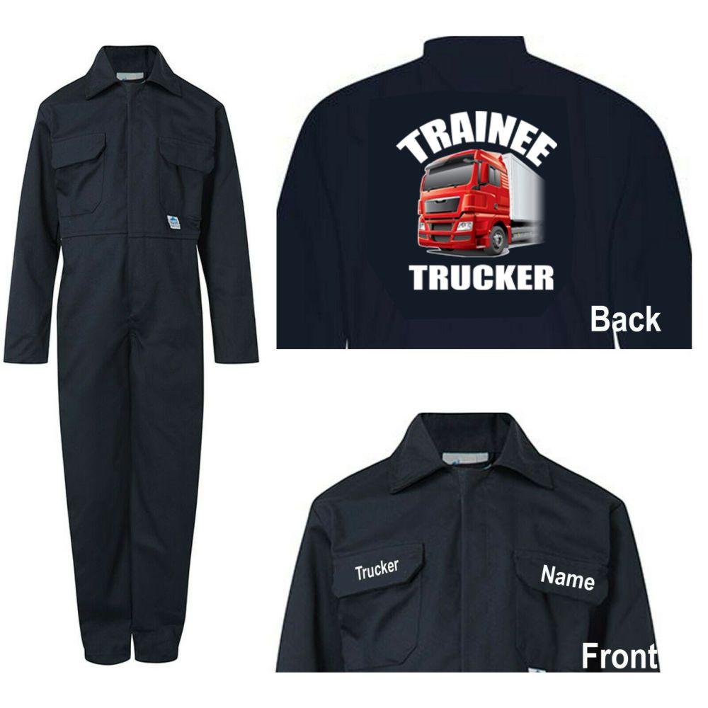 Kids children boiler suit overalls coveralls customise trainee trucker blue