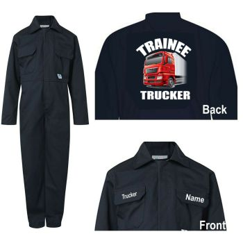 Kids children boiler suit overalls coveralls customise trainee trucker blue or red