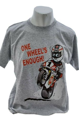 AA- One wheels enough Retro Logo Design mens T-shirt Tee grey