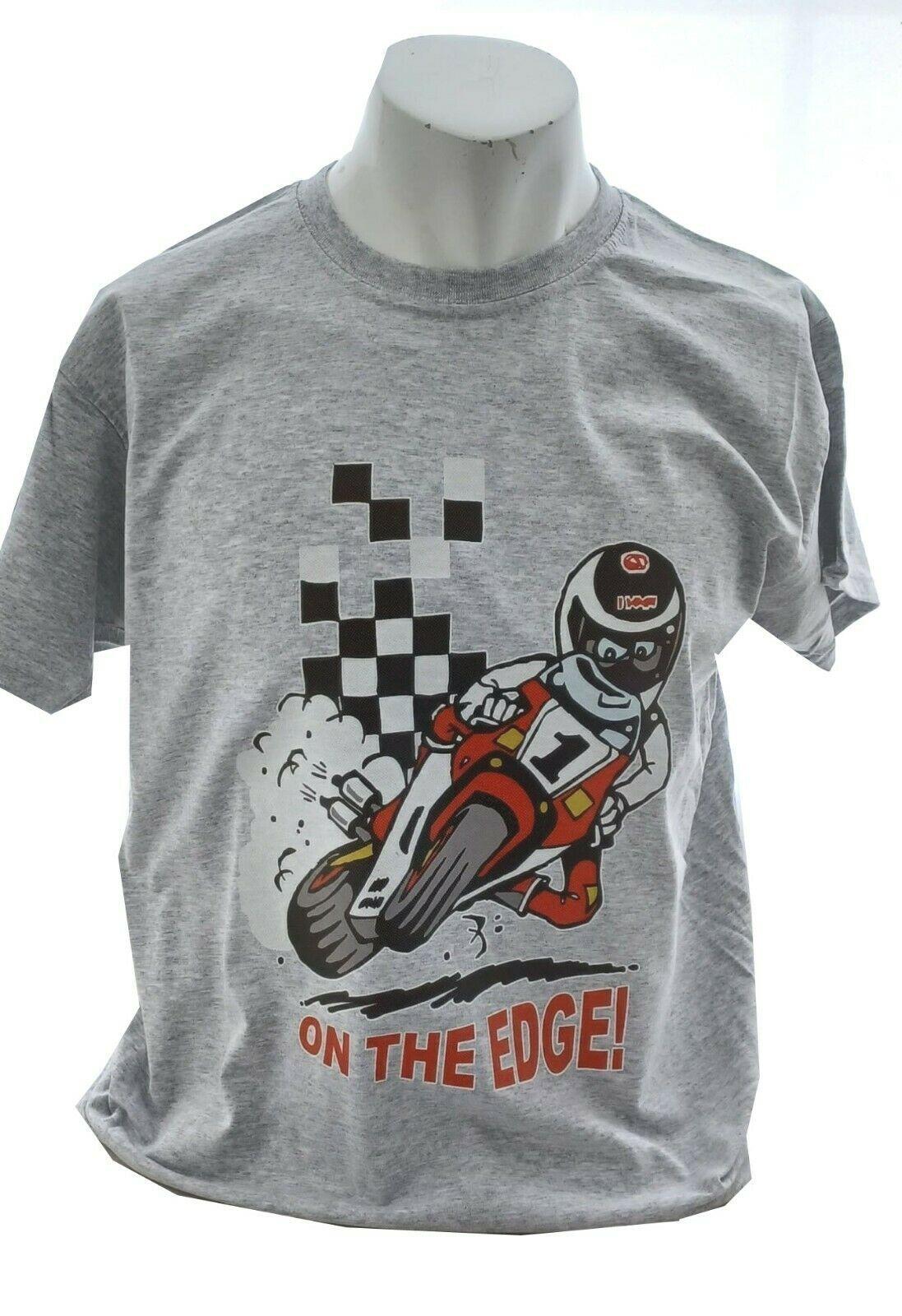AA- On the edge Retro 2 stroke Design  mens T-shirt Tee grey