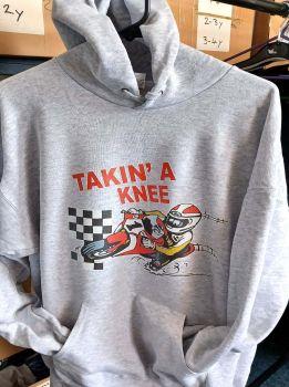 AAA - Takin a Knee motorcycle biker racing grey hoodie pullover with kangaroo pouch