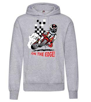 AAA - On the Edge motorcycle biker racing grey hoodie pullover with kangaroo pouch