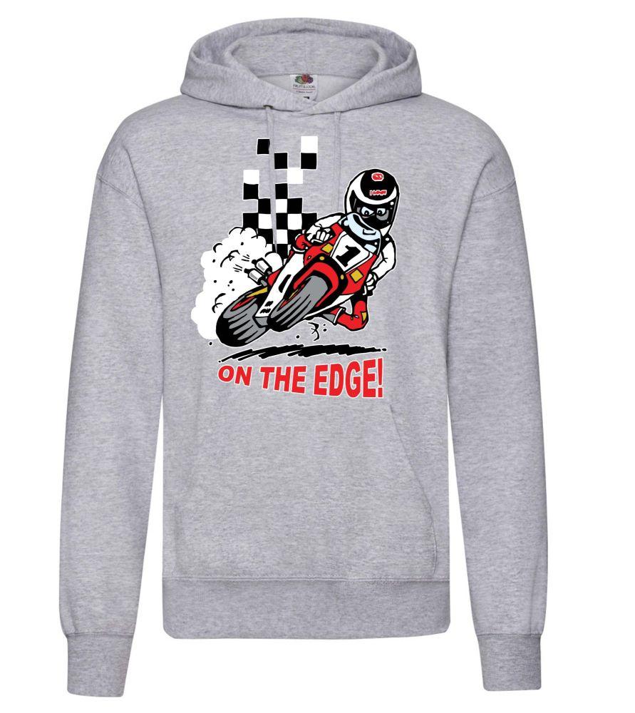 AAA - On the Edge motorcycle biker racing grey hoodie pullover with kangaro