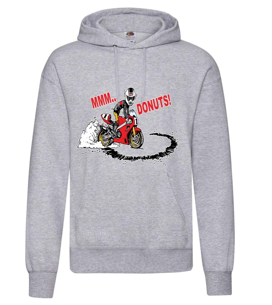 AAA - MMM Donuts motorcycle biker racing grey hoodie pullover with kangaroo