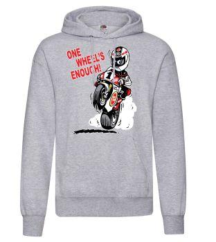 AAA - One Wheel's Enough motorcycle biker racing grey hoodie pullover with kangaroo pouch