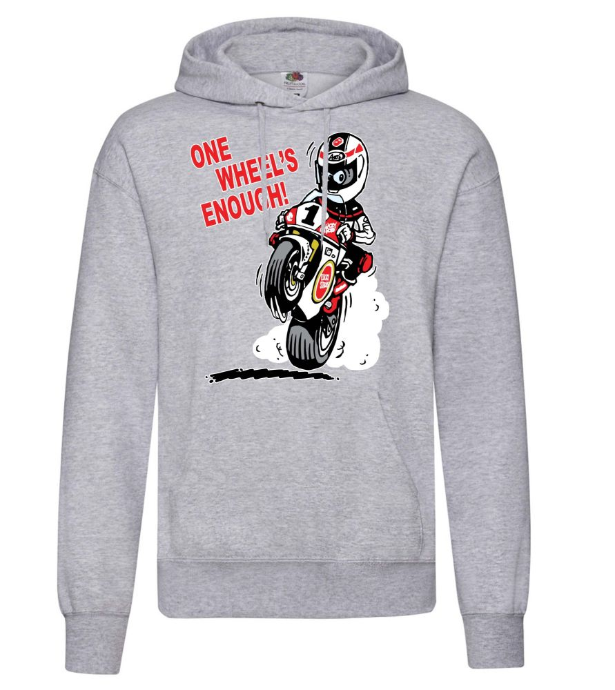 AAA - One Wheel's Enough motorcycle biker racing grey hoodie pullover with