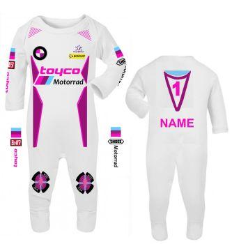 3-Motorcycle Baby grow babygrow romper suit pink Toyco Motorrad racing Wiz Knee sliders